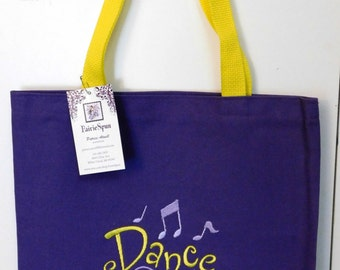 """Embroidered dance bag - """"Dance"""" on purple canvas with yellow straps"""