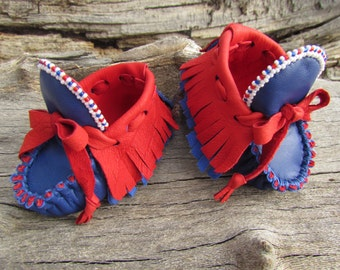 """Newborn Moccasins By Desi, Baby, Leather, Beaded, Girl, Boy, 3"""" long, Shoes, Baby, 1st July Fourth, First Patriotic outfit, Memorial Day USA"""