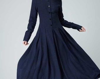 Linen Dress, Blue Dress,fall dress, causal Dress,button dress,Long Sleeves Dress,Pleated Dress,shirt dress, ladies dress,linen clothing 1469
