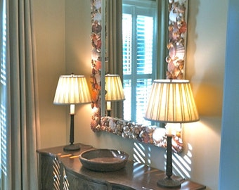 "Seashell Mirror - 55"" x 42"" - beach decor coastal sea shell beach house shell mirror"