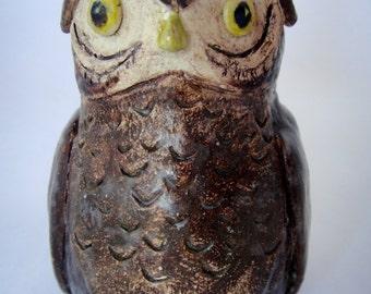 Vintage Mini Brown Owl Ceramic Figurine - Woodland Animal -  Home Decor