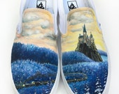 Custom Vans Hand Painted Shoes - Train in Winter Forest