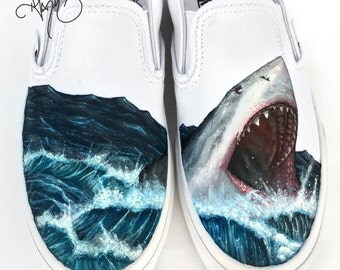 Custom Vans Shoes - Hand Painted Great White Shark
