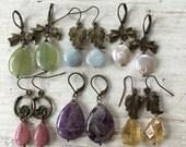 Pastel Gemstone Earrings - Choose your Favorite - Antique Brass Jewelry
