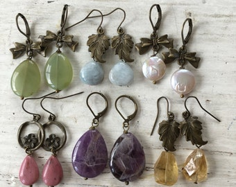 Pastel Gemstone Earrings - Choose your Favorite - Antique Brass Jewelry