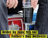 Gift for Dad, 20oz etched glass personalized with Name, Est. & kids' birth dates, Fathers Day, Gift for him, Daddy Gift, Gift from Kids