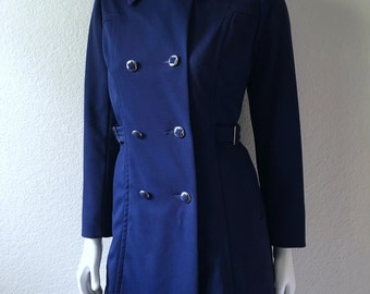 Vintage Women's 70's Mod, Navy Blue Peacoat, Fully Lined, Winter Jacket (M)