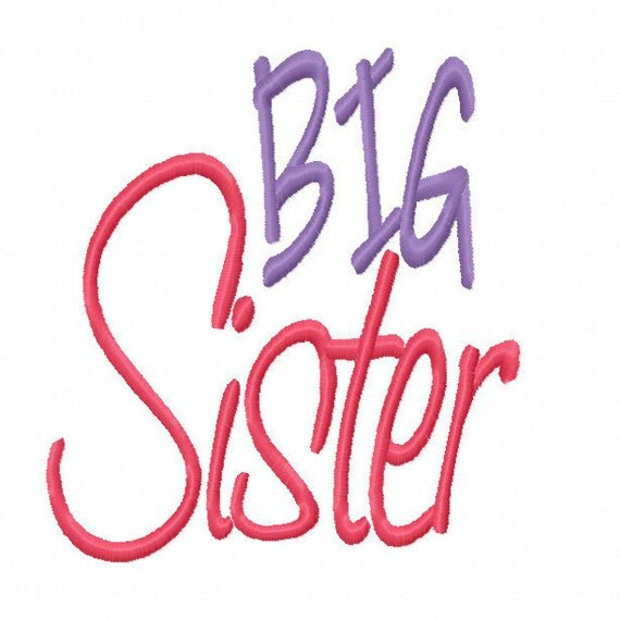 Big Sister Machine Embroidery Design 4x4 5x7 Instant Download sibling shirt t-shirt tee twins gender reveal party older oldest girl daughter