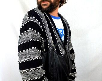 Vintage 1980s Black White Knit - Leather Trim Coogi Style Cardigan Hip Hop Sweater - Bagazio