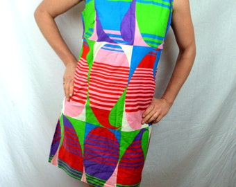 Vintage 60s Psychedelic Hippie Geometric Dress - Loungecraft