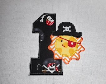 Free Shipping Ready to Ship Number 1 Sun Pirate Fabric iron on applique