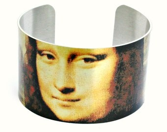 """Aluminum Cuff Bracelet with the Mona Lisa, Permanent image, Water and Fade Resistant, 1.6"""" x 6.5"""""""