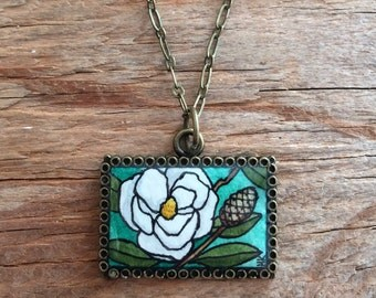 Magnolia Flower Hand Painted Necklace, Original Watercolor Painted Pendant