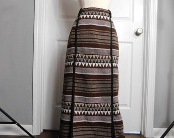 Vintage 70s 1970s Maxi Skirt - Woven Maxi - Hippie Boho - Brown White Gray - Fall Winter Fashion - Small Medium
