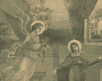 Visitation, Angel, Mary, French Illustrated Catechism 4a, Black White Engraving, Antique Religious Print, Catholic Church, Spiritual Art