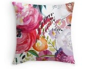 Throw Pillow - Watercolor Accent Pillow - Bloom - Painting - Decorative Pillow - Home Decor