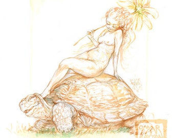 Toes on a Tortoise - original art watercolor painting
