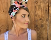 The Golden Floral Dolly Bow || Coral Peach Pink + Gold Flower Stripe Mint Black White Pinup Headband w/ Wire Rockabilly Fashion Hair Girl