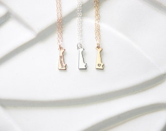 Delaware Necklace, Rose Gold Delaware Small State Pendant, Tiny Sterling Silver Delaware State Necklace Charm, Heart Delaware State Bracelet