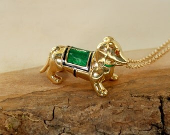 Dachshund Dog Locket Necklace, Small Puppy Perfume Pendant, Long Gold Chain, Rare 2003 Estee Lauder, Secret Compartment Jewelry, Pill Box