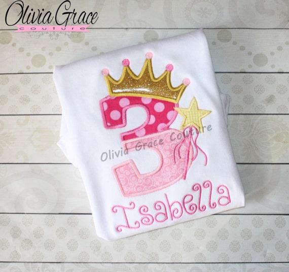 Pink Princess Birthday Shirt Girls Embroidered