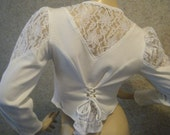 Vtg 80s 90s White Lace and Jersey button up Western Corset back shirt blouse medium