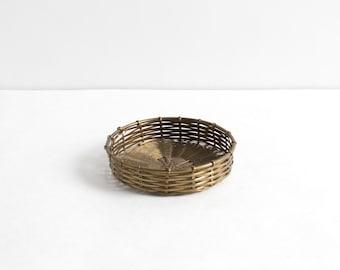 Vintage Woven Brass Shallow Basket