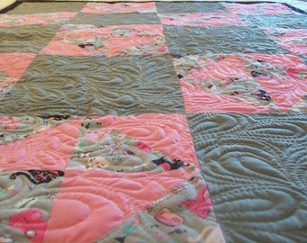 "Modern Quilt, Gray and Pink, 50"" x 62"", READY TO SHIP"