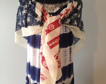 American flag kimono open sleeve Scarf by Gina Louise