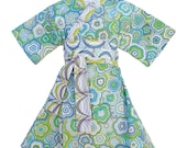 Kimono Dress in MODERN FLORAL Yukata Modern Kimono Girls Baby Toddler Japanese Asian blue green