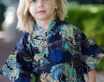 Kids Kimono Jinbei - DRAGON in NAVY - Japanese pajamas loungewear boys kimono outfit boys pajamas