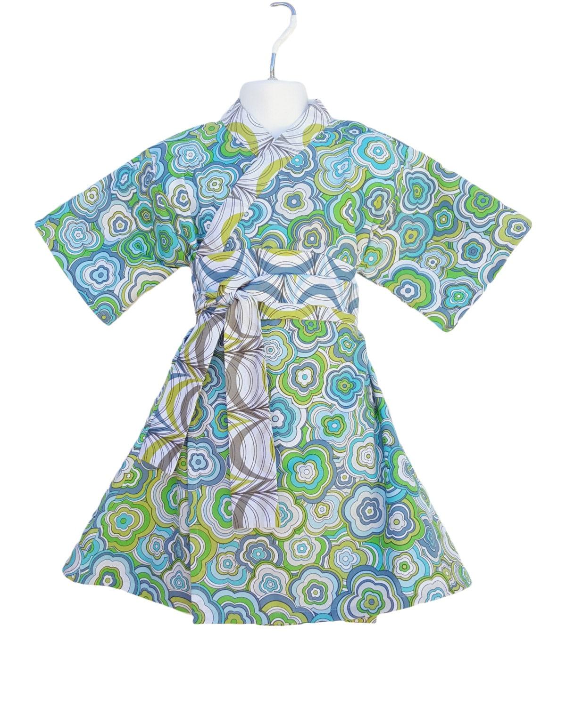 Kimono Dress in MODERN FLORAL Yukata Modern Kimono Girls Baby