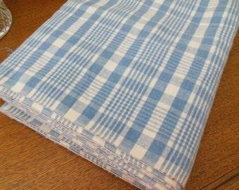 """Vintage/Antique Blue White Woven Plaid Cotton Flannel UNUSED 4.8 Yards 35"""" Wide"""