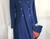 Adorable Vintage 50's Navy Blue Coat with Red Polka Dot Lining -- Size M