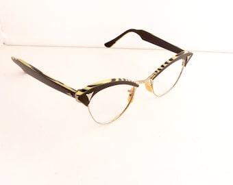 American Optical Cateye Eyeglasses Frames Vintage 1950's Rare Black White Zebra Pattern 12K GF Made in USA #M356 DIVINE