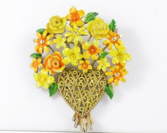 Vintage Lisner Enameled Heart and Flowers Brooch Pin (B-4-4)
