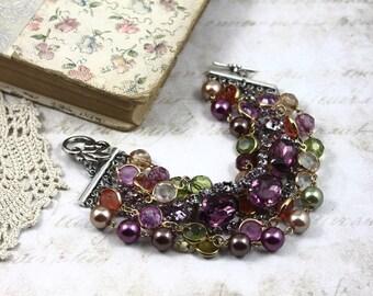 Vintage Assemblage MultiStrand Purple Rhinestone Bracelet, MultiStrand Crystal and Pearl Statement Bracelet, Purple Assemblage Bracelet