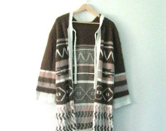 Vintage 70s hooded sweater / Hippie Bohemian sweater coat / fuzzy faux alpaca cardigan long sweater