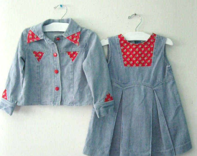 Vintage Children's 70s denim dress set / jean jacket and romper dress set