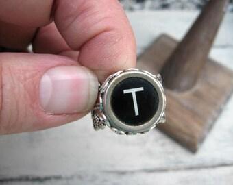 Typewriter Key Ring - Typewriter Key Jewelry - T Initial Ring - Antique Typewriter Key Adjustable Ring - Initial Ring