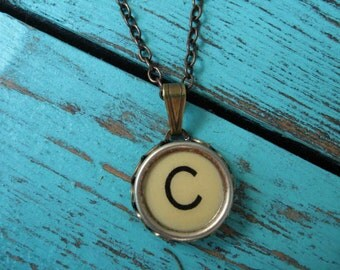 Initial Necklace - Typewriter Key Necklace - Initial C
