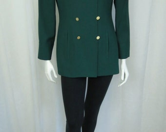 Albert Nipon Gorgeous Emerald green long blazer size Small Dry Cleaned