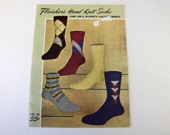 Vintage Fleisher's Socks Knitting Patterns Magazine & 3 Interwoven Socks Ads, Men Women Socks, Childrens Socks, Retro Sock Ads 1940s 1950
