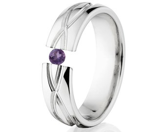 Tension Set Ring, 6mm, Uniquely You, Infinity, Alexandrite, 6HR-T8-Infinity