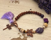 Mixed Gemstone Bone and Wood Lavender Silk Tassel Bracelet