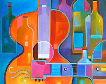 Abstract Art Cubist Oil Painting canvas Guitar Music Wine Marlina Vera Gallery Modern Artwork sale Contemporary Fauvism guitare vin guitarra