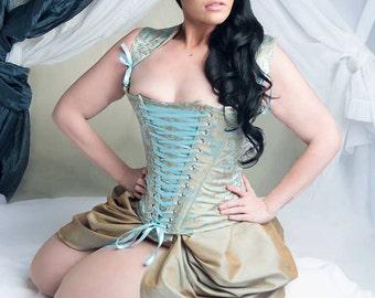 31-34 inch corset-ice-burning man-fairy-steampunk cinderella-31 inch corset-the secret boutique-blue-unique-wedding-alternative-outlander
