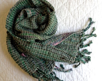 Handwoven Recycled Sari Silk Ribbon & Cotton Scarf // Green / Silver / Gray / Multicolor / Summer / Fall / Lightweight / Sustainable