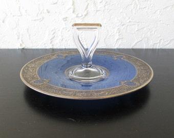 Art Nouveau Style Gold Trim Edge Over Painted Blue Bottom Vintage Glass Handle Serving Plate