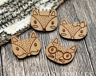 2Pcs Large Handmade Lovely Animal Wooden Charms / Pendants (LC055)